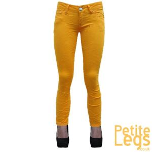Hayley Crinkle Skinny Jeans in Block Yellow | UK Size 8 | Petite Leg Inseam Select: 24 - 31.5 inches